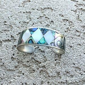 Vintage Alpaca Silver Abalone Cuff Bracelet Mexico